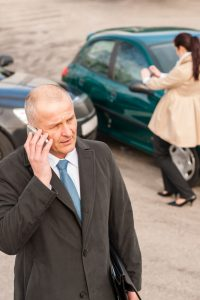 man on the phone after an accident